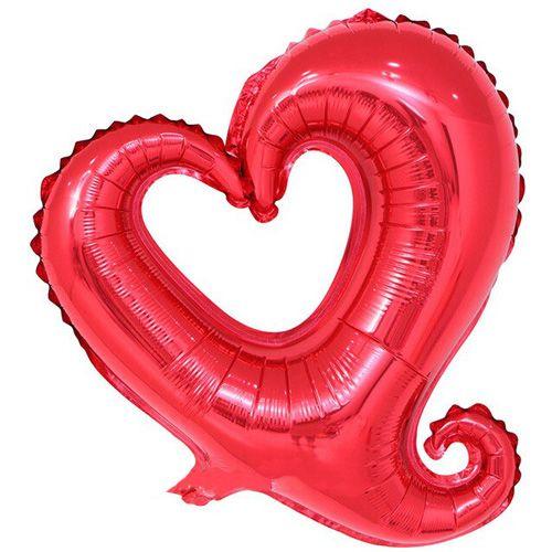 Kuyruklu Kalp Folyo Balon Kırmızı 88*85 cm, fiyatı