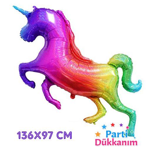 Renkli Unicorn Folyo Balon Glitter (136x97 cm), fiyatı