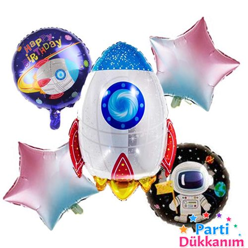 Uzay Temalı Roket Folyo Balon 5'li Set, fiyatı