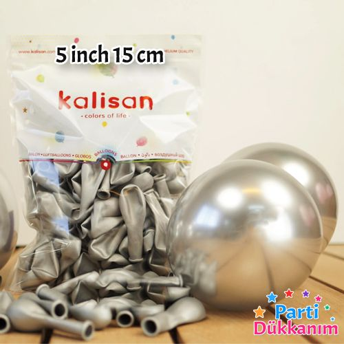 5 İnch Mini Gümüş Krom Balon 10 Adet, fiyatı
