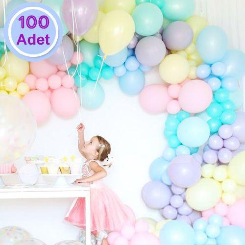 Makaron Pastel Balon Karışık Renk 100 Adet, fiyatı