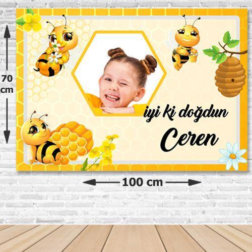 Arı Temalı Doğum Günü Parti Afişi 70x100 cm, fiyatı