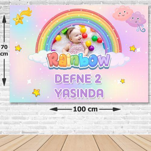 Gökkuşağı Rainbow Doğum Günü Parti Afişi 70x100 cm, fiyatı