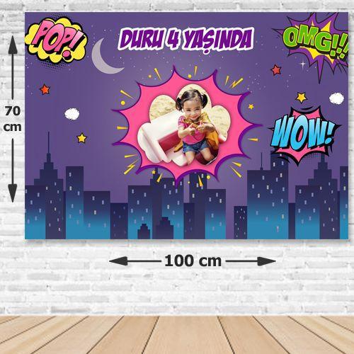 Superhero Comics Kız Doğum Günü Parti Afişi 70x100 cm, fiyatı