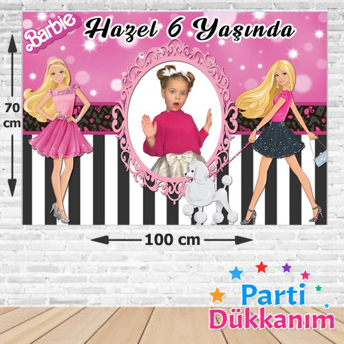 Barbie Doğum Günü Parti Afişi Siyah-Pembe 70*100 cm, fiyatı
