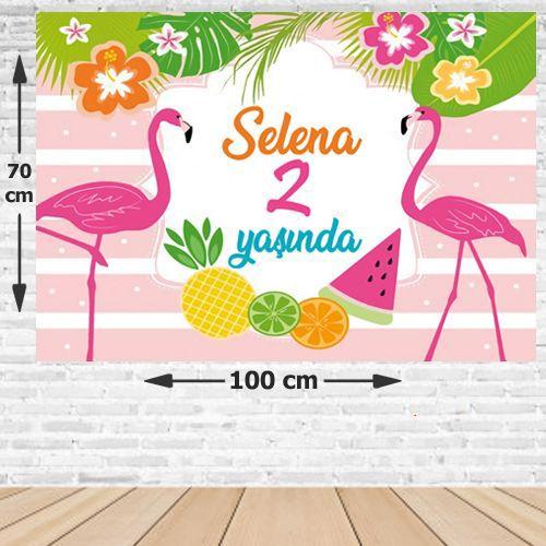 Flamingo Ananas Doğum Günü Afişi 70*100 cm, fiyatı
