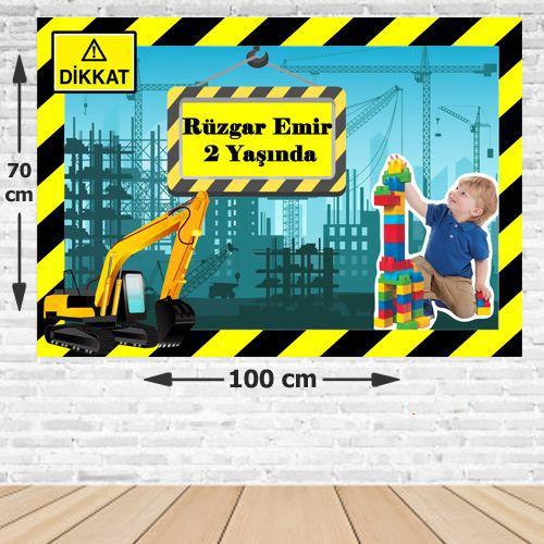 İnşaat Doğum Günü Parti Afişi 70*100 cm, fiyatı