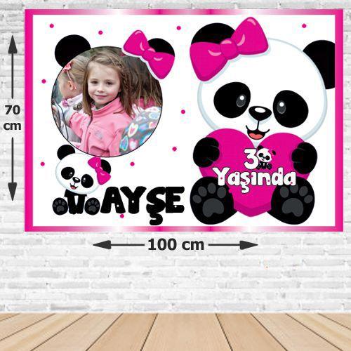 Panda Doğum Günü Parti Afişi Kız 70*100 cm, fiyatı