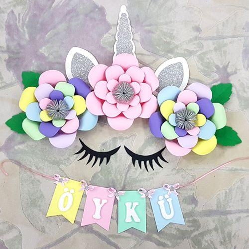 Unicorn Renkli Kağıt Çiçek Seti Gümüş, fiyatı