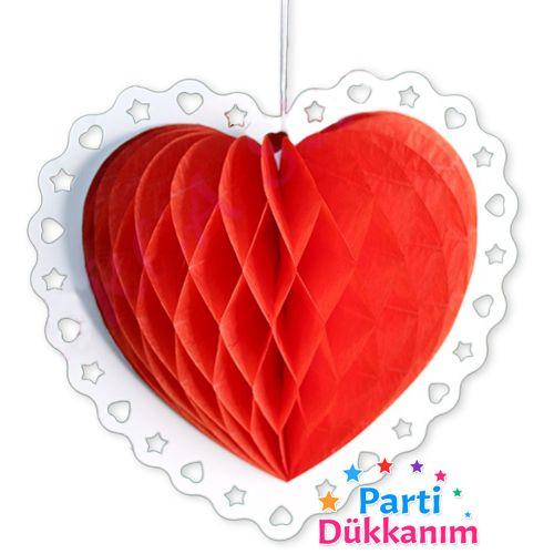 Kalpli Kırmızı Petek Süs (23 cm)