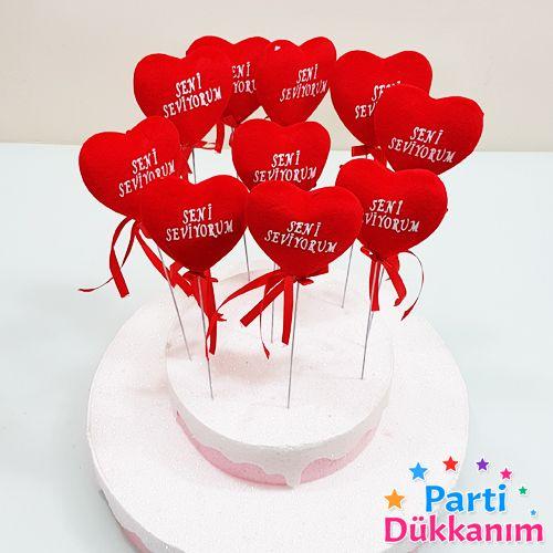 Çubuklu Kalp Köpük Seni Seviyorum (10 Adet), fiyatı