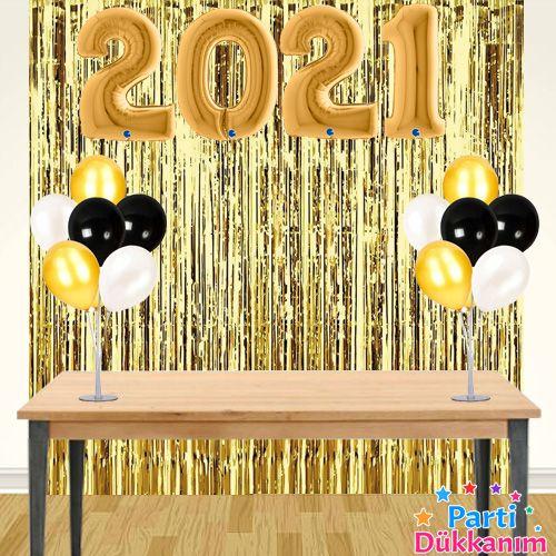 2021 Yılbaşı Arka Fon Süsleme Seti Gold, fiyatı