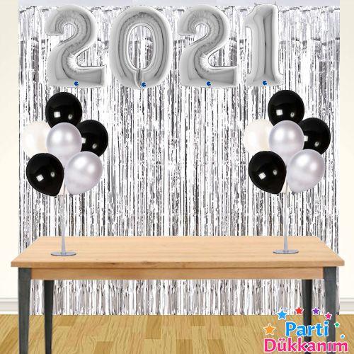 2021 Yılbaşı Arka Fon Süsleme Seti Gümüş, fiyatı