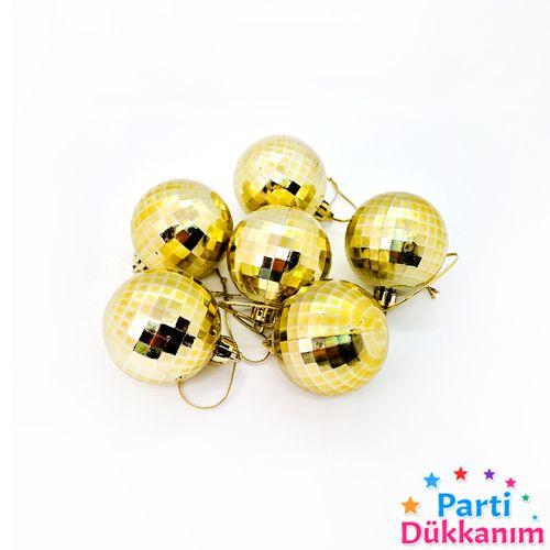 Çam Ağacı Süsleme Disko Topu Gold 6 Adet 5 cm, fiyatı