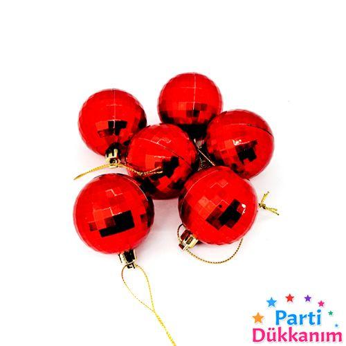 Çam Ağacı Süsleme Disko Topu Kırmızı 6 Adet 5 cm, fiyatı