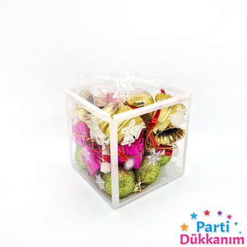 Karışık Çam Ağacı Süs Parlak - Simli  24 Adet 3 cm, fiyatı
