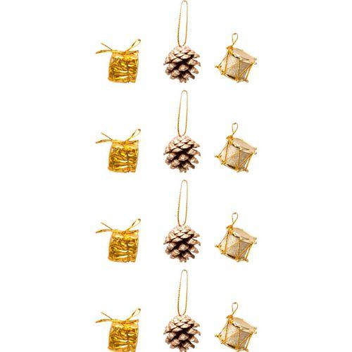 Yılbaşı Çam Ağacı Süsleri Gold 12 Adet, fiyatı