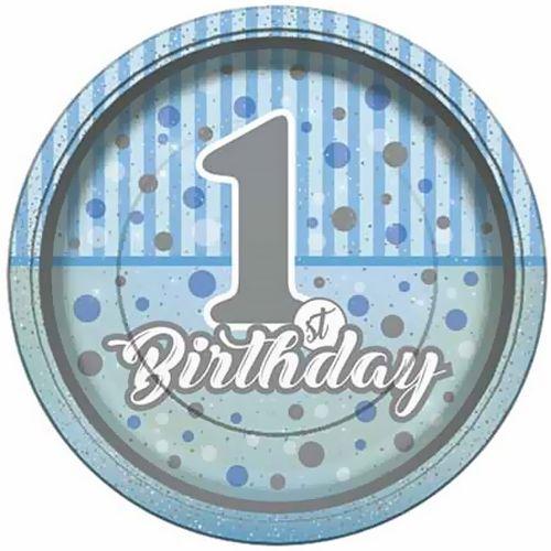 First Birthday Mavi Karton Tabak 8 Adet, fiyatı