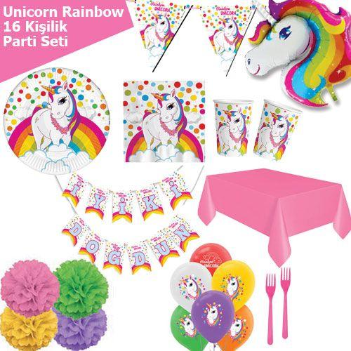 Unicorn Rainbow 16 Kişilik Parti Seti, fiyatı