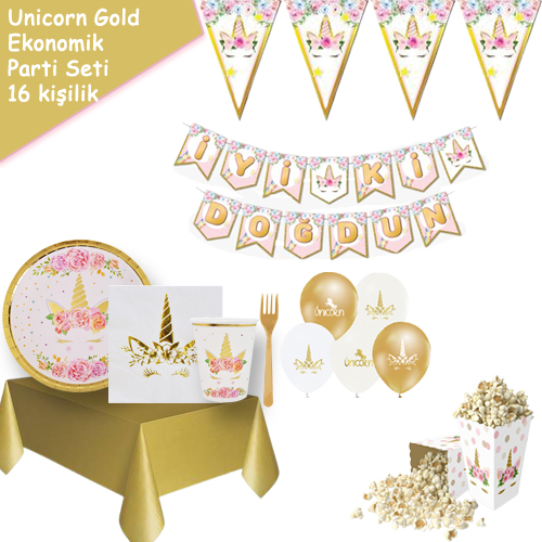 Unicorn Gold Parti Seti 16 Kişilik, fiyatı
