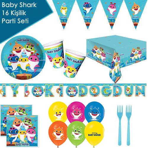 Baby Shark 16 Kişilik Ekonomik Parti Seti, fiyatı
