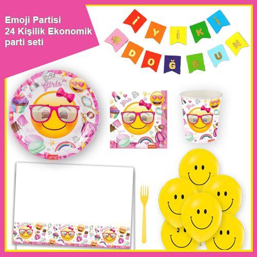Emoji Kız Doğum Günü Parti Seti 24 Kişilik, fiyatı