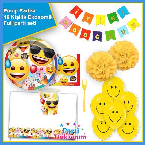 Emoji Doğum Günü Parti Seti 16 Kişilik, fiyatı