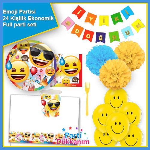 Emoji Doğum Günü Parti Seti 24 Kişilik, fiyatı