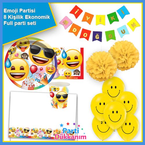 Emoji Doğum Günü Parti Seti 8 Kişilik, fiyatı