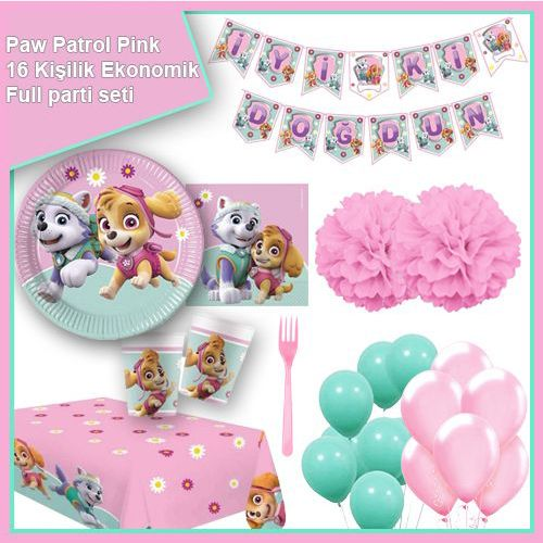 Paw Patrol Pink 16 Kişilik Ekonomik Parti Seti, fiyatı