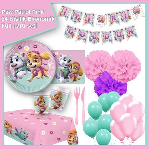 Paw Patrol Pink 24 Kişilik Ekonomik Parti Seti, fiyatı