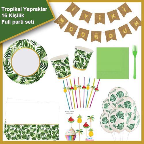 Tropikal Yapraklar 16 Kişilik Ekonomik Parti Seti, fiyatı
