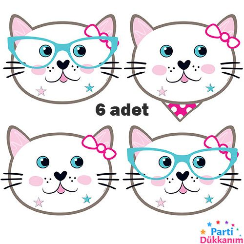 Miss Cat Kağıt Maske 6 Adet, fiyatı