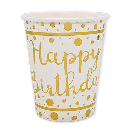 Happy Birthday Beyaz Üzeri Gold Varaklı Bardak 6 Adet, fiyatı