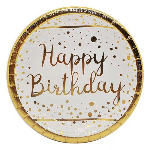 Happy Birthday Beyaz Üzeri Gold Varaklı Tabak 6 Adet, fiyatı