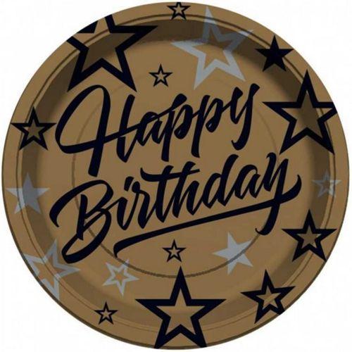 Happy Birthday Golden Star Tabak (8 adet), fiyatı