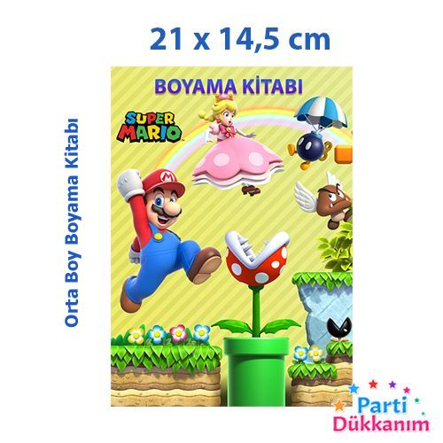 Süper Mario Boyama Kitabı 16 Sayfa 21x14,5 cm, fiyatı