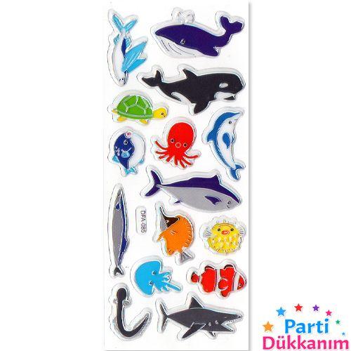 Deniz Canlıları Sticker 7x17 cm, fiyatı