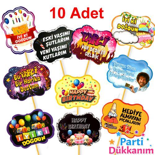 Doğum günü Konuşma Balonu Seti 10 Adet, fiyatı