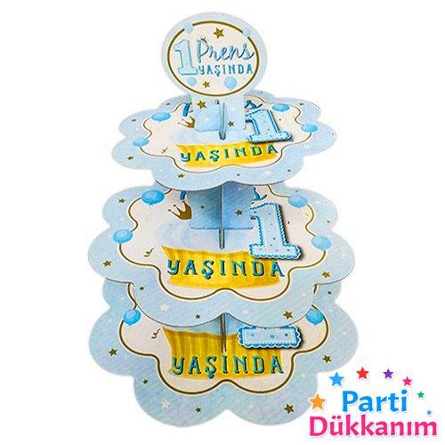 1 Yaş 3 Katlı Kek Standı Mavi, fiyatı