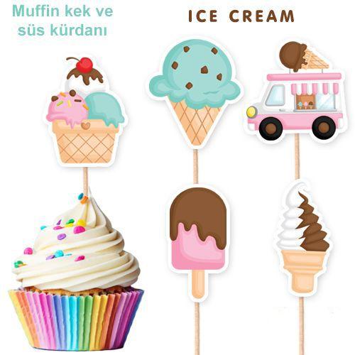 Dondurma Temalı Şekilli Kürdan 10 Adet, fiyatı