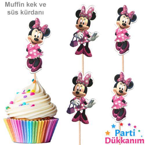 Minnie Mouse Şekilli Simli Kürdan 10 Adet, fiyatı