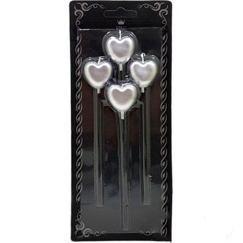 Kalpli Çubuklu Mum Gümüş (4 Adet), fiyatı