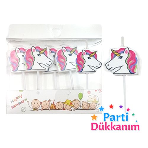 Unicorn Figürlü Mumlar 5 Adet, fiyatı