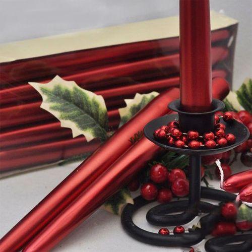 Kırmızı Metalik Şamdan Mumu 2 Adet 23 cm, fiyatı