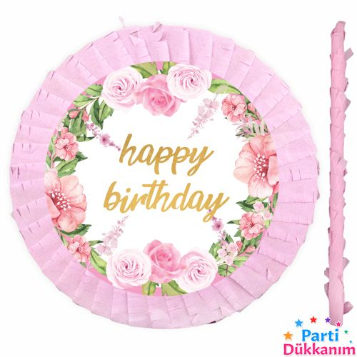 Happy Birthday Çiçekli Pinyata 42 cm + Sopası, fiyatı