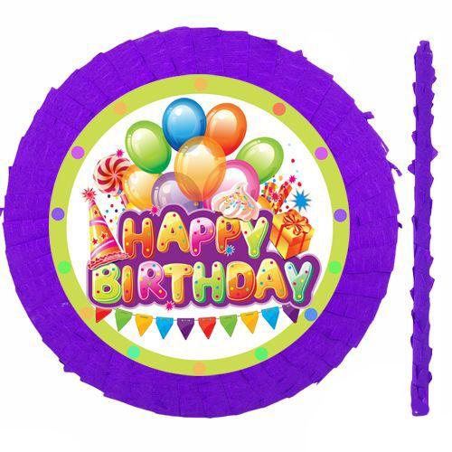 Happy Birthday Mor Pinyata 42 cm + Sopası, fiyatı