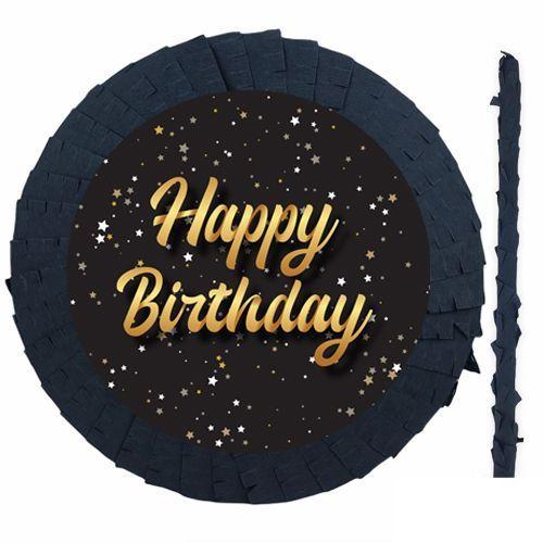 Happy Birthday Siyah Gold Pinyata 42 cm + Sopası, fiyatı