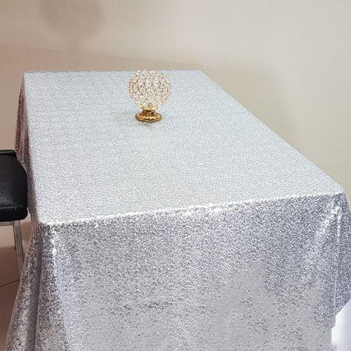 Gümüş Payetli Masa Örtüsü 125x200 cm, fiyatı