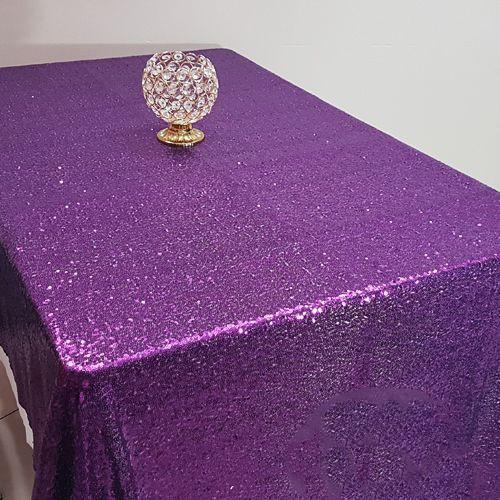 Mor Payetli Masa Örtüsü 125x200 cm, fiyatı